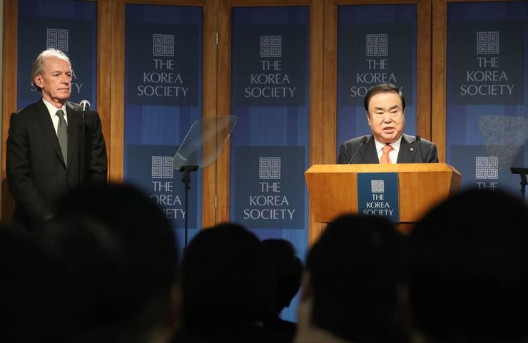 National Assembly Speaker Moon Hee-sang answers reporters' questions after giving a keynote speech at the Korea Society in New York, Thursday. / Yonhap