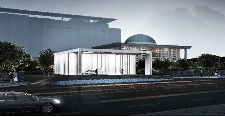 This photo provided by the Ministry of Trade, Industry and Energy shows a three-dimensional picture of the hydrogen charging station for fuel cell electric vehicles (FCEVs) to be set up at the National Assembly complex in Yeouido, Seoul. Yonhap