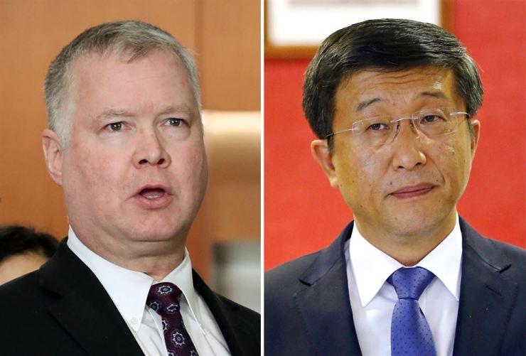 U.S. Special Representative for North Korea Stephen Biegun and his North Korean counterpart Kim Hyok-chol. Yonhap