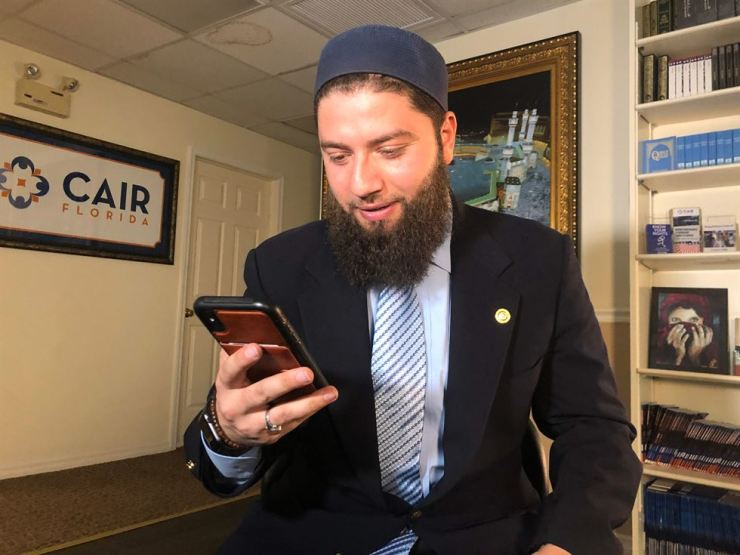 Hassan Shibly, lawyer for 24-year-old Hoda Muthana, poses in his office in Tampa, Florida, on February 20, 2019. AFP