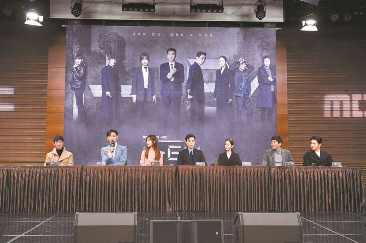 Actor Ju Ji-hoon, second from left, speaks during a press conference for MBC's new sci-fi fantasy drama 'Item' at the network's headquarters in Seoul, Monday. / Courtesy of MBC