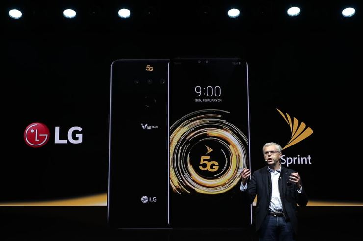 Michel Combes, CEO of Sprint, speaks during the presentation of the new LG V50 ThinQ 5G smartphone at the Mobile World Congress, in Barcelona, Spain, Feb. 24. The fair started with press conferences on Sunday, before the doors open on Feb. 25 and runs until Feb. 28. AP