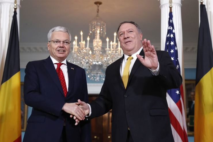 U.S. Secretary of State Mike Pompeo, right, meets with Belgian Foreign Minister Didier Reynders, Friday, Feb. 22, 2019, at the State Department in Washington. AP