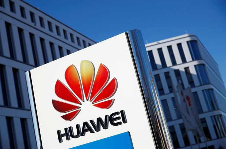 The logo of Huawei is pictured in front of the German headquarters of the Chinese telecoms giant in Duesseldorf, Germany, Feb. 18. Reuters