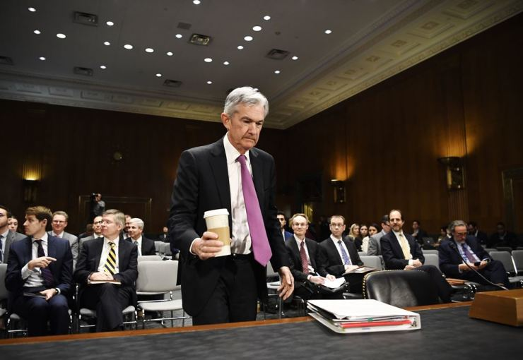 U.S. Federal Reserve Chairman Jerome Powell (Front) arrives to testify before the Senate Banking Committee in Washington D.C., the United States, on Feb. 26, 2019. Xinhua