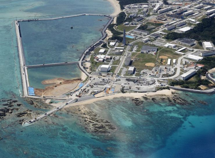 The relocation site for U.S. Marine Corps Air Station Futenma where land reclamation work continues is seen in the Henoko coastal district in Nago, Okinawa Prefecture, Japan, in this photo taken on Feb. 23. Kyodo via Reuters
