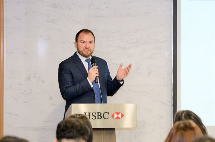 Joshua Kroeker, HSBC's innovation director, holds a press conference at HSBC Korea in Seoul, Tuesday. Courtesy of HSBC Korea