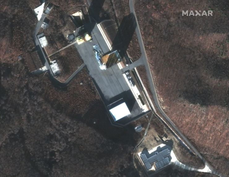 This Dec. 5, 2018 image provided by DigitalGlobe provided on Tuesday, March 5, 2019 shows a satellite image of North Korea's Sohae facility. AP-Yonhap
