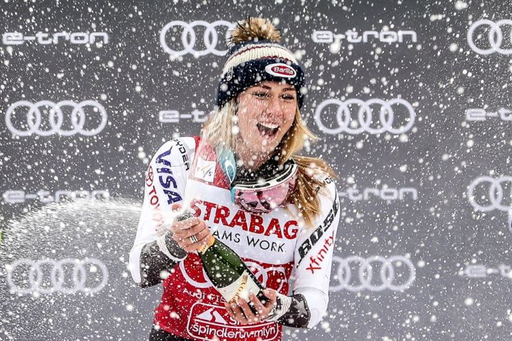 First placed Mikaela Shiffrin of US celebrates on the podium during trophy ceremony of Women's Slalom race at the FIS Alpine Skiing World Cup in Spindleruv Mlyn, Czech Republic, 09 March 2019. EPA