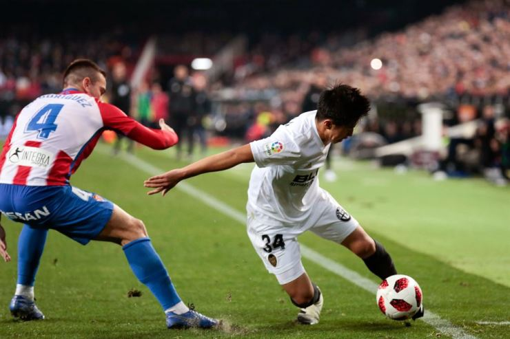 Lee Kang-in in action for Valencia CF during the Copa del Rey Round of 16 match against Sporting de Gijon in Spain this year. Yonhap