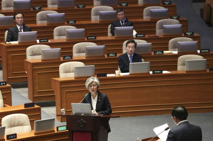 Foreign Minister Kang Kyung-wha responds to a question from Rep. Kim Joong-ro of the minor opposition Bareunmirae Party at the National Assembly in Seoul, Wednesday. Yonhap