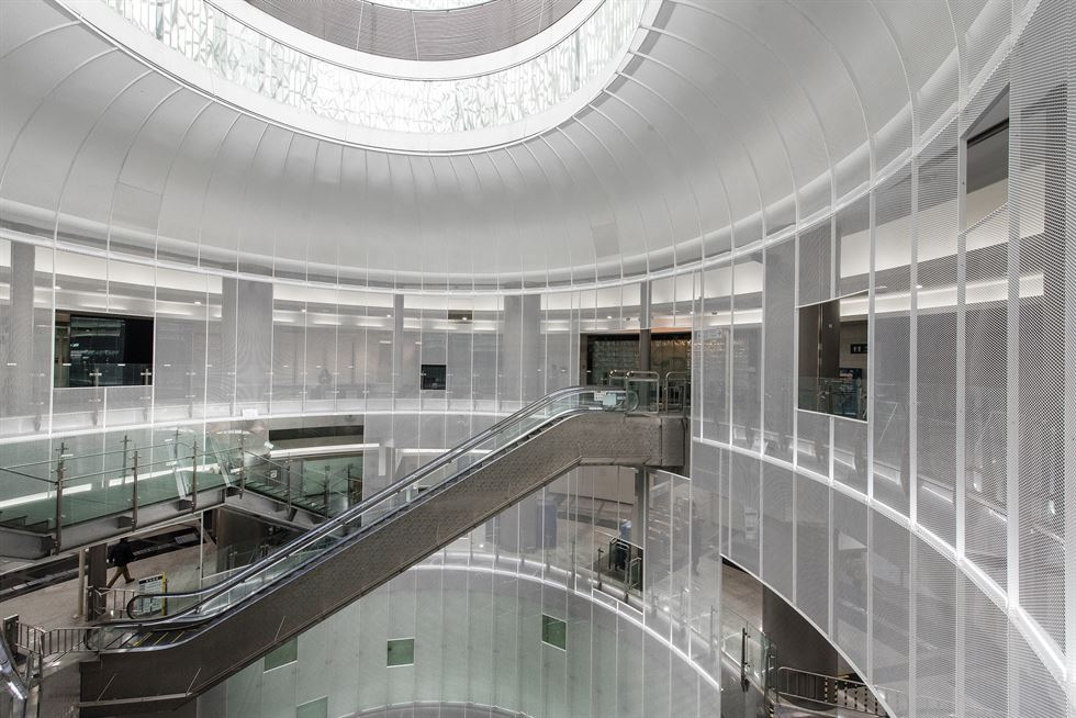 The main atrium topped with a glass dome at Noksapyeong Station. / Courtesy of Seoul Metropolitan Government