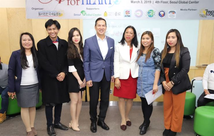 From left: Elena Dela Cruz, Filipino team manager of the Seoul Global Center; Nash Ang, founding director of Pinoy Artists in Korea; Angel Ngok, president of the ASEAN Youth Network in Korea; Ambassador Raul Hernandez from the Embassy of the Philippines in Korea; Ambassador Adalgisa Ximenes from the Embassy of East Timor in Korea; Nicky Juanite, secretary general of Pinoy Artists in Korea, and Rosie Peralta, executive director of Pinoy Artists in Korea. They were attending the 'Art for Heart: Card Design Making Contest' at the Seoul Global Center in Jongno-gu on Mar. 3. Courtesy of Pinoy Artists in Korea