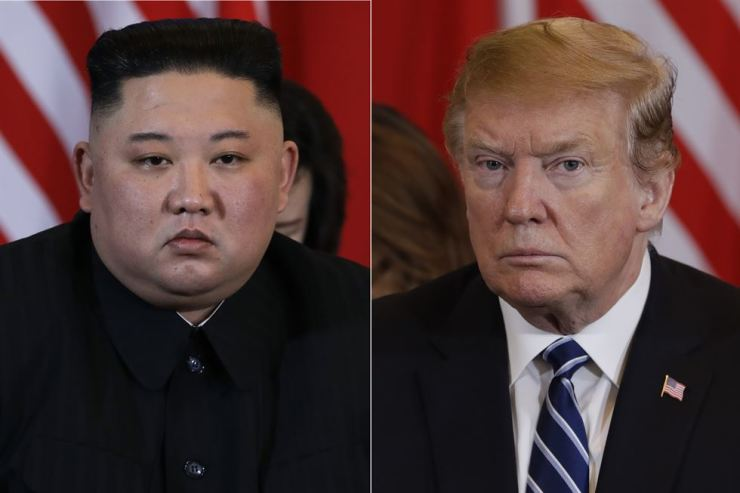 This combination of images shows North Korean leader Kim Jong-un, left, and President Donald Trump during their Feb. 28 meeting in Hanoi, Vietnam. AP-Yonhap