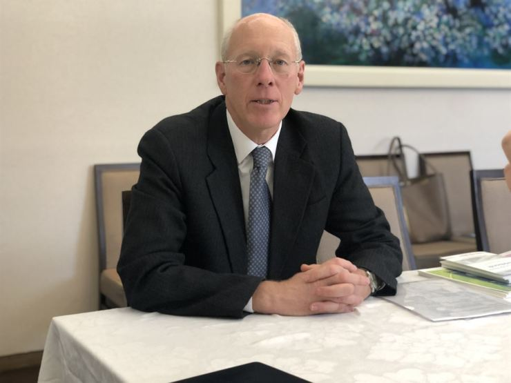 John Everard, former U.K. ambassador to North Korea, speaks during an interview with The Korea Times at the President Hotel in central Seoul, March 1. Courtesy of Global Peace Foundation