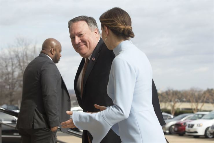 U.S. Secretary of State Mike Pompeo arrives at the Pentagon in Arlington, Virginia, U.S., March 15. EPA