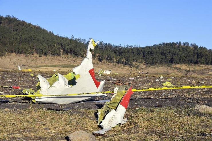 Wreckage lies at the crash site of Ethiopia Airlines Boeing 737 Max 8 en route to Nairobi, Kenya, near Bishoftu, Ethiopia, 10 March 2019. All passengers onboard the scheduled flight ET 302 carrying 149 passengers and 8 crew members, have died, the airlines says. EPA