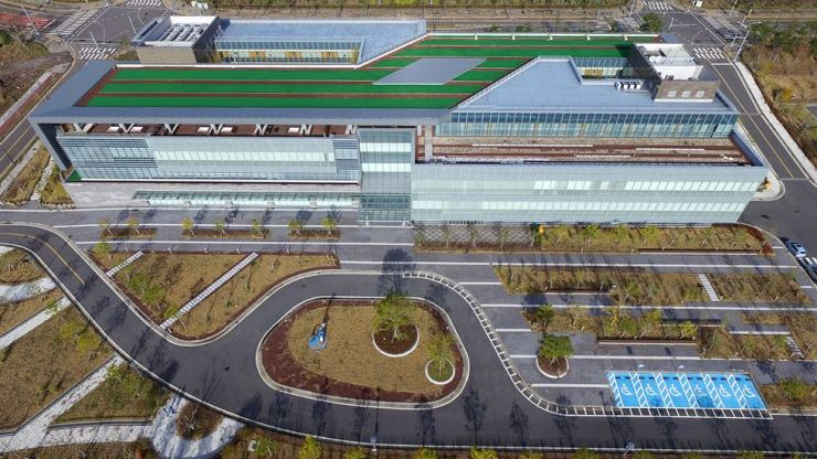 Aerial photo of Greenland International Medical Center, the country's first for-profit hospital, on Jeju Island / Yonhap