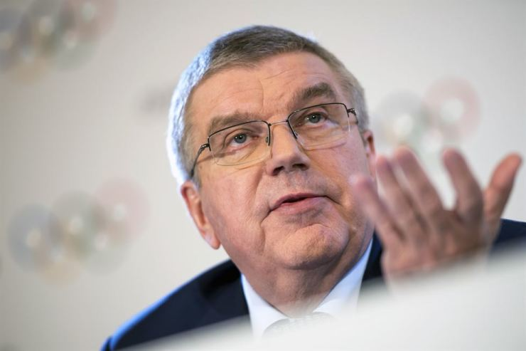 International Olympic Committee (IOC) president Thomas Bach speaks after the second day of the IOC executive board meeting in Lausanne, Switzerland, March 27. AP