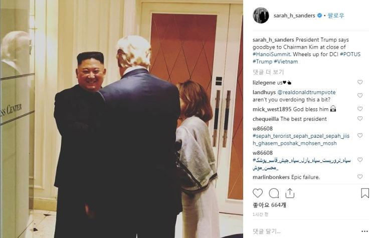 This instagram photo from the U.S. White House spokeswoman Sarah Sanders shows North Korea's Kim Jong-un parting with U.S. President Donald Trump without even having a scheduled lunch during their no-deal Hanoi, Vietnam, summit, Thursday.