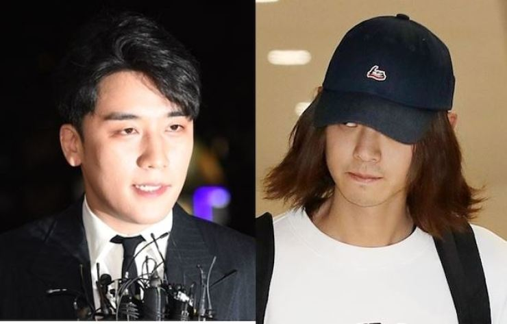 Foreign fans are angry at Seungri, left, and Jung Joon-young. Korea Times file