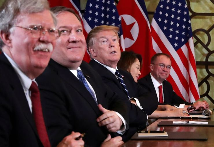 U.S. President Donald Trump, U.S. Secretary of State Mike Pompeo, White House National Security Adviser John Bolton and acting White House Chief of Staff Mick Mulvaney attend the extended bilateral meeting in the Metropole hotel with North Korea's leader Kim Jong-un and his delegation during the second North Korea-U.S. summit in Hanoi, Vietnam Feb. 28, 2019. Reuters-Yonhap