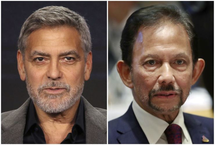 This combination of file photos shows actor George Clooney in Pasadena, Calif., Feb. 11, and Brunei's Sultan Hassanal Bolkiah in Brussels, Oct. 18, 2018. AP-Yonhap