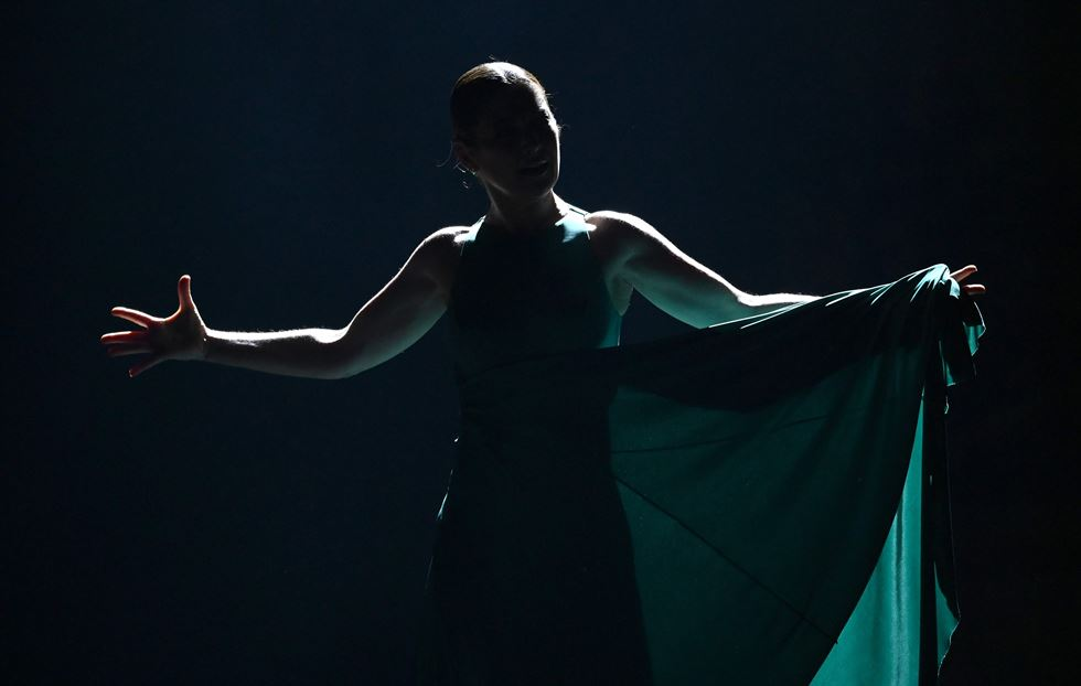 Flamenco superstar Sara Baras from Ballet Flamenco Sara Baras performs a scene from 'Shadows (Sombras) during heir opening night at the City Center on March 7, 2019, during the 2019 New York City Center's Flamenco Festival. AFP-Yonhap