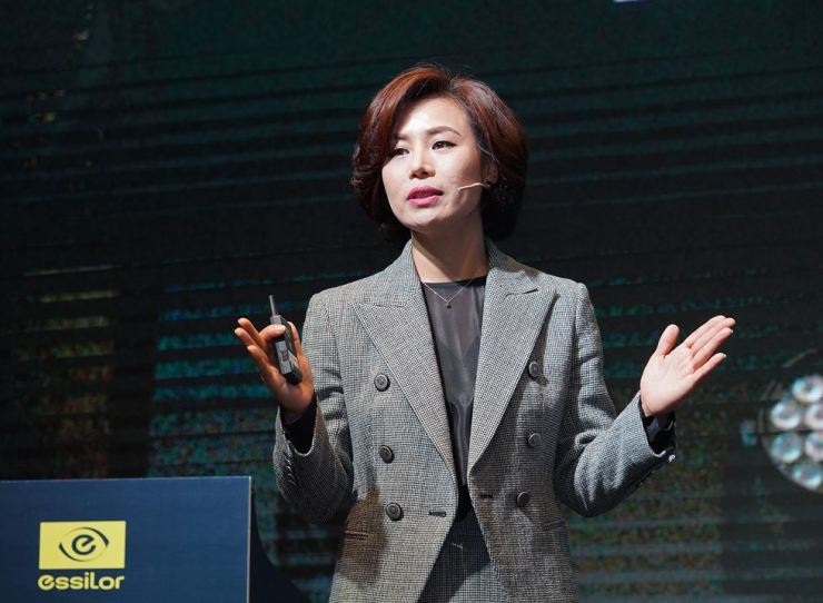 Essilor Korea CEO Lisa Soh speaks during a press conference at the GLAD Hotel Yeouido in Seoul, Wednesday. / Courtesy of Essilor Korea