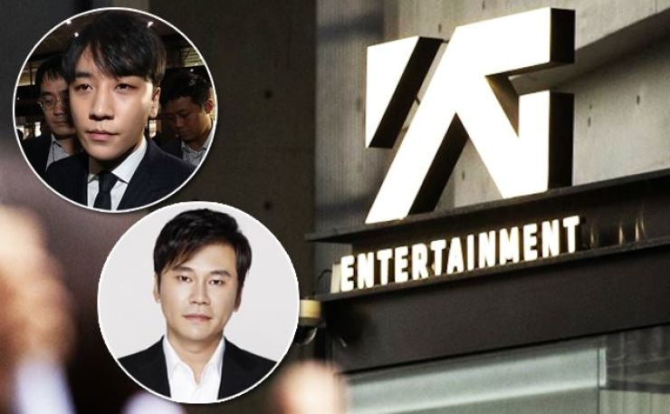 The drug/prostitution scandal involving former YG artist Seungri, top, has spiraled out of control, striking YG Entertainment and its founder, Yang Hyun-suk. Photos from Yonhap, Hankook Ilbo, YG Entertainment