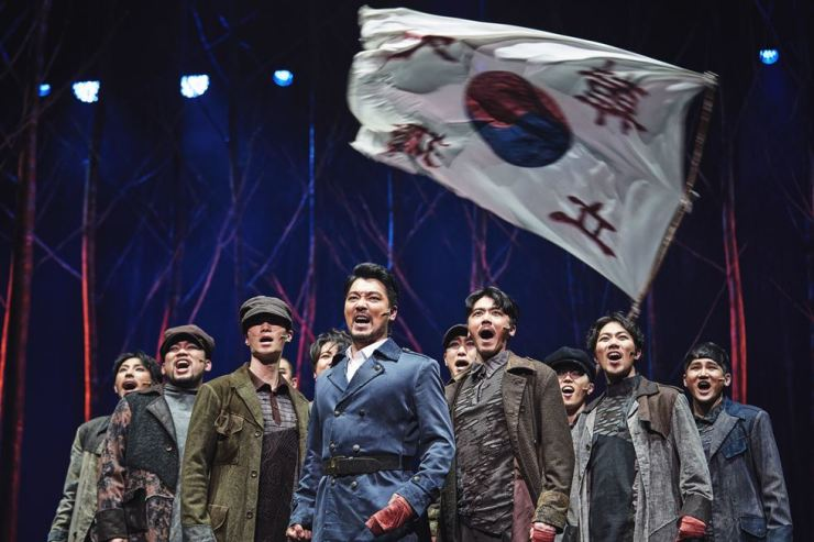 Yang Jun-mo, center, as Ahn Jung-geun in Musical 'Hero' / Courtesy of ACOM International