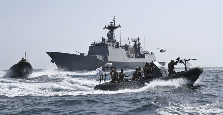 Vessels involved in the 28th deployment of the Republic of Korea Navy's Cheonghae unit, the country's first overseas anti-piracy mission, are seen in waters off Somalia. Courtesy of Republic of Korea Navy