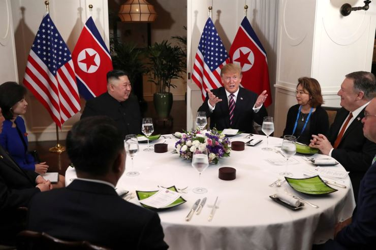 U.S. President Donald Trump and North Korean leader Kim Jong-un sit down for a dinner during the second U.S.-North Korea summit at the Metropole Hotel in Hanoi, Vietnam Feb. 27, 2019. AP-Yonhap