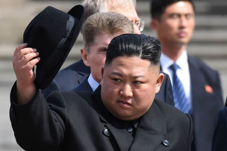 North Korean leader Kim Jong-un attends a ceremony upon his departure from Russia, at the railway station in the far-eastern Russian port of Vladivostok on April 26. AFP
