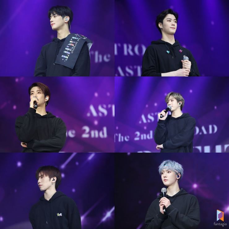 ASTRO members speak to their fans from the stage during the 'ASTRO STAR LIGHT' world tour in 2019. Clockwise from top left are Cha Eun-woo, Rocky, Jin Jin, San-ha, MJ, Moon Bin. / Courtesy of Fantagio Corp.