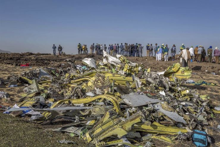 The pile of debris from the deadly crash of Ethiopian Airlines' Boeing 737 Max 8 in March. AP-Yonhap