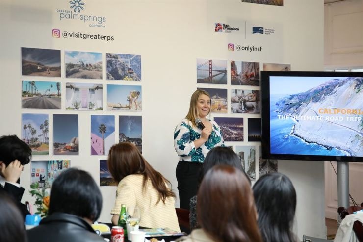 Lindsey Guinn, Visit California's international public relations manager, speaks during the Asia Sales and Media Mission in Seoul, last week. / Courtesy of Visit California