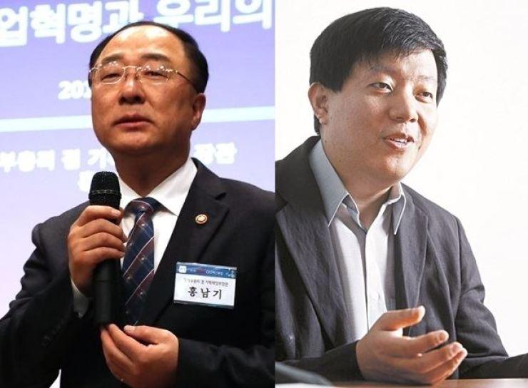 Finance Minister Hong Nam-ki, left, and Lee Jae-woong, CEO of car-sharing company Socar / Korea Times file