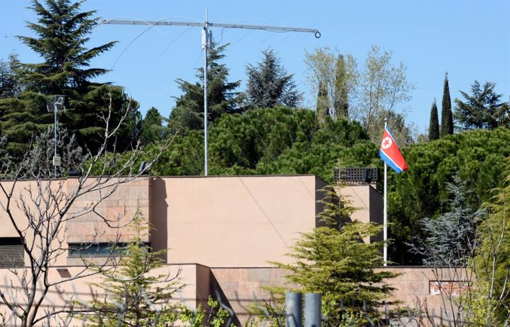 An outside view of the Embassy of North Korea building in Madrid, Spain, 27 March 2019. EPA-Yonhap