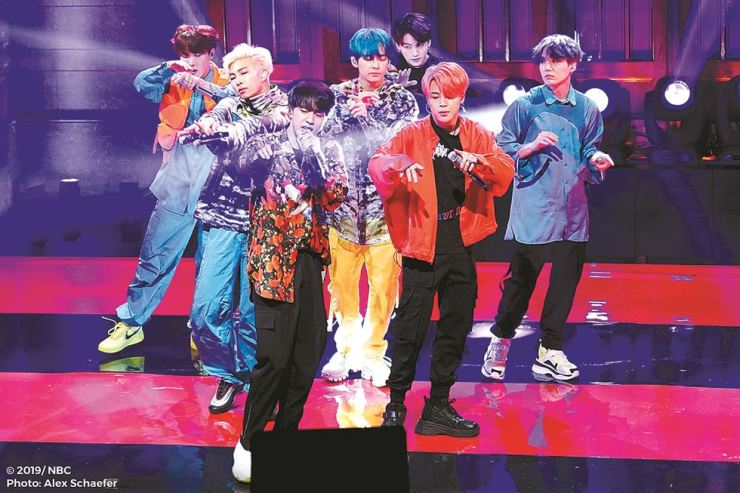 BTS performs at the NBC Rock Rockefeller Center in New York, last Saturday. The band made their 'Saturday Night Live' debut. Courtesy of NBC