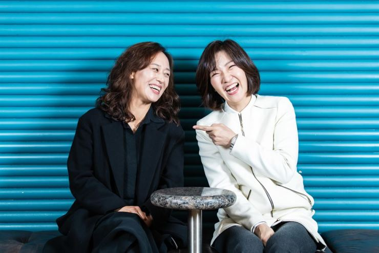 Woo Mi-hwa, left, and Seo Yi-sook play Nora Helmer in the play 'A Doll's House, Part 2,' which is set 15 years on from where Henrik Ibsen's 'A Doll's House' concludes. Courtesy of LG Arts Center