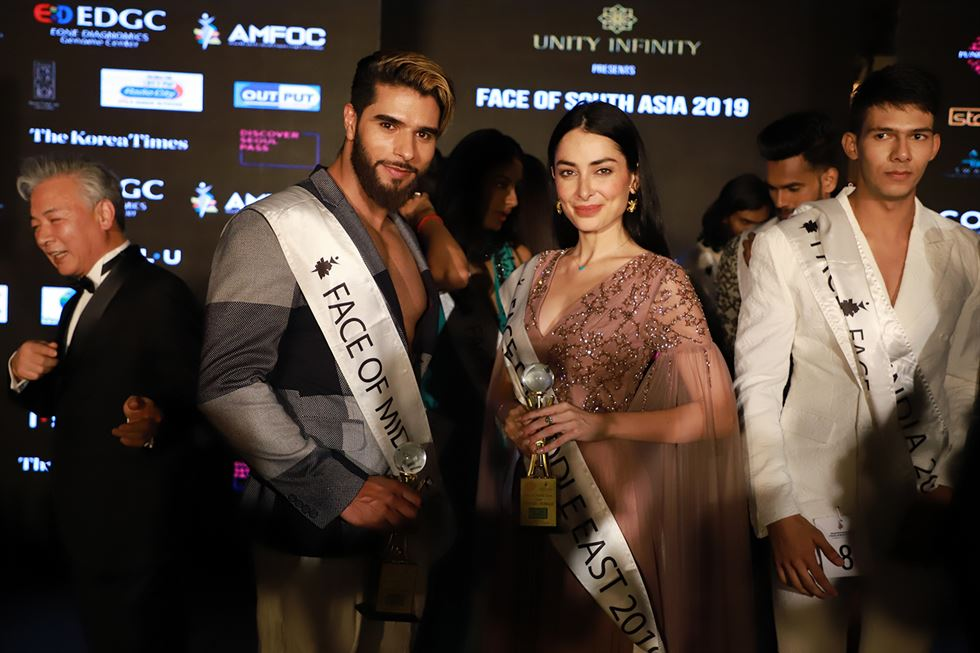 Paniza Rahnama (Middle East) on stage at '2019 Asia Model Festival FACE of South Asia with MyGenomeBox' on Friday. Courtesy of Asia Model Festival Organization Committee (AMFOC)