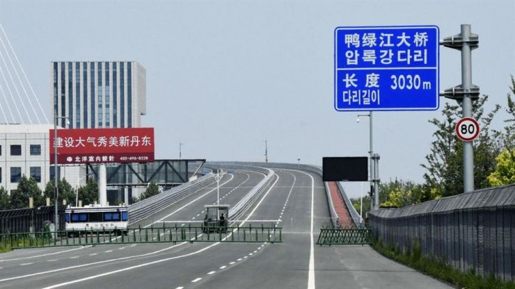 The bridge crosses the Yalu River on the border between China and North Korea. Photo from South China Morning Post