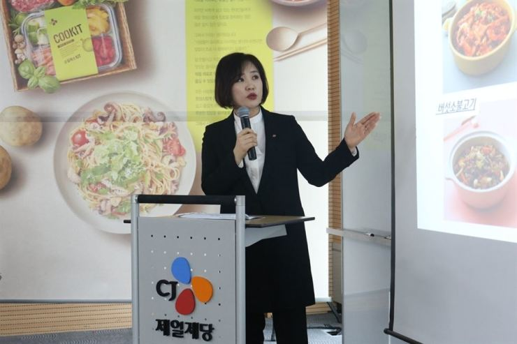 CJ CheilJedang Online Business director Kim Kyung-yeon speaks at the launch of the company's meal kit service at the company's headquarters located in central Seoul, Tuesday. / Courtesy of CJ CheilJedang