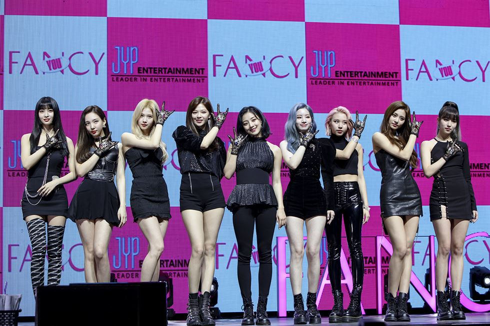 K-pop girl band TWICE stages a gig for its newest release 'FANCY' Monday at the Yes24 Live Hall in Gwangjin-gu, Seoul. Courtesy of JYP Entertainment