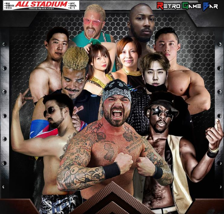 Wrestlers pose in a poster for Pro Wrestling Society's upcoming event in Seoul on Sunday, April 14. Courtesy of Pro Wrestling Society