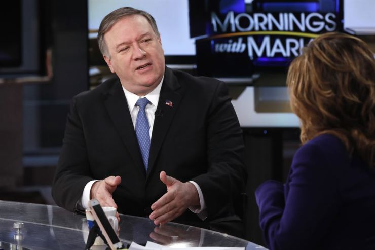 U.S. Secretary of State Mike Pompeo is interviewed by Maria Bartiromo during her 'Mornings with Maria Bartiromo' program on the Fox Business Network, in New York, April 5. AP
