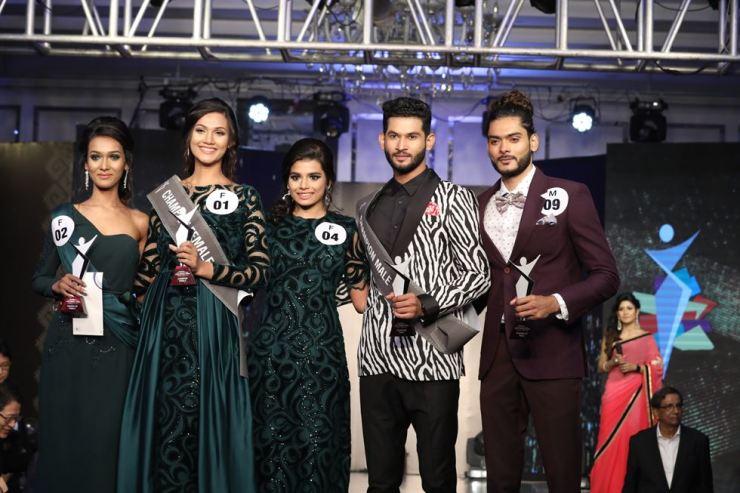 From left are Shahela Mojumder Nidhi, Shirin Shela, Manoshi Kanta Sarke, Maruf Rahman and Mehedi Hasan Polash, the five winners of the '2019 Asia Model Festival FACE of BANGLADESH with MyGenomeBox.' Courtesy of AMFOC