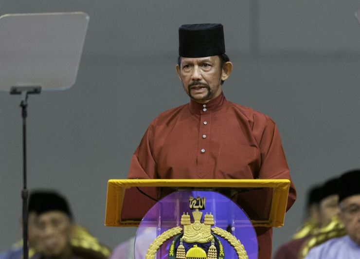 Sultan of Brunei Hassanal Bolkiah speaks at the International Convention Centre to celebrate the Islamic event Isra Mi'raj, in Bandar Seri Begawan, Brunei, April 3. EPA