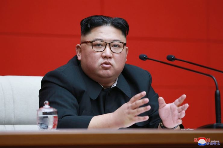 North Korean leader Kim Jong-un speaks during a meeting of the ruling Workers' Party in Pyongyang, Wednesday. Yonhap